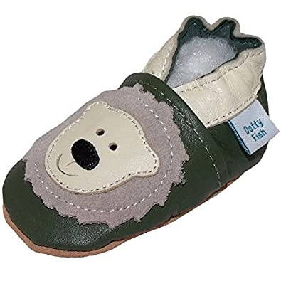Soft Leather Baby boy Shoes with Suede Soles by Dotty Fish Olive Green Bear design - 0-6 months