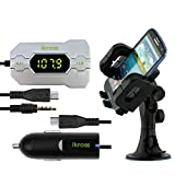 IKross 3.5mm In Car FM Transmitter w/ Car Charger + Car Windshield Mount Holder for Nokia Lumia 930/ 830/ 635/ 630/ 625/ 1020/ 925/ 920/ 720/ 620/ 520/ 510/ 820/ 810 and more