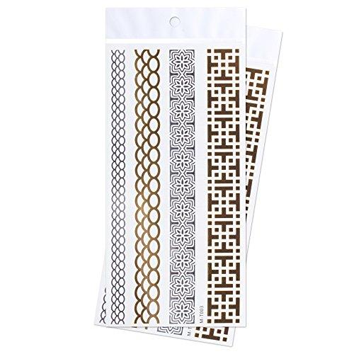Zooky® Metallic Arm Leg Bracelet chainlet Stones Robot Maze pattern Waterproof Temporary Jewelry fake Tattoo Body Stickers M-T003, 2 piece Set, Golden (Fake Robot Arm compare prices)