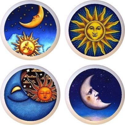 Celestial Sun Moon Stars Drawer Pulls Knobs Set of 4