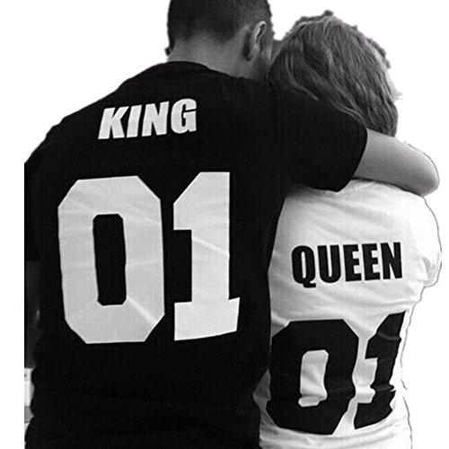 Sharondar KING & QUEEN Lettera T-shirt stampata Sport camicetta superiore Coppia camicia (M, QUEEN)