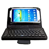Boriyuan Portable Removable Detachable Wireless Bluetooth ABS Keyboard Carrying Case Magnetic Protective Flip Folding PU Leather Cover with Viewing Stand Holder Function for Samsung Galaxy Tab 4 7.0 7 inch T230 T231 T235 with Free Screen Protector and Touch Stylus Pen - Black