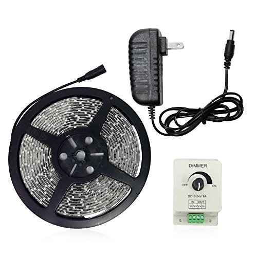 Waterproof Flexible Led Light Strip Kit - 16.4Ft (5M) 300Leds 3528 Smd Led Strip Lights + Pwm Led Dimmer + Power Supply (Daylight)