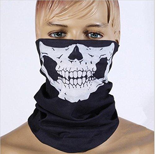 [New Halloween Skull Skeleton Outdoor Motorcycle Bicycle Multi function Headwear Hat Scarf Half Face Mask Cap Neck Ghost] (3d Skeleton Zombie Costumes)