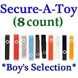 Baby Buddy Secure-A-Toy Strap - 8 count (BOY)