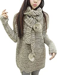 Ladies Long Sleeves Round Neck Pullover Winter Casual Sweater w Scarf