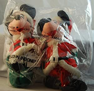 Disney Bean Bag Santa Claus Mickey Mouse and Mrs. Clause Minnie Mouse Limited Edition Set