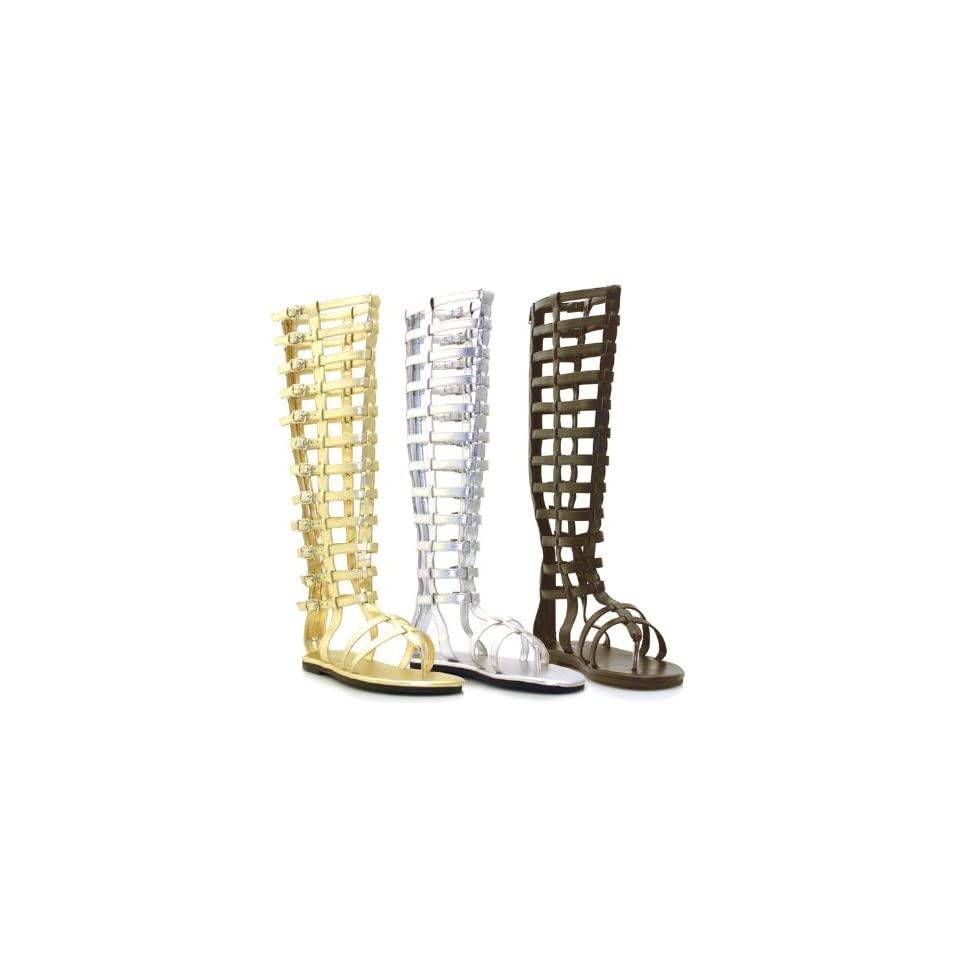 Ellie Shoes   120 Max, Mens Knee High Multistrap Flat Gladiator Sandal with Zipper   Perfect for Theatre or Halloween Costumes