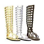 ELLIE 120-MAX Knee-High Multistrap Women's Flat Sandal with Zipper, Silver, L Size
