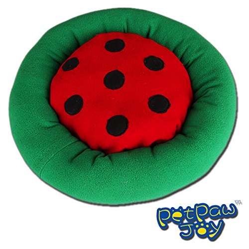 PETPAWJOY #LADYBUG SHAPED Washable Coral Fleece Cartoon Dog Round Bed Cat Mat for Puppy and Kitty Cozy Nest Mat Pad Soft Cotton Puppy Bed Kitty Bed Cradle for Dogs & Cats
