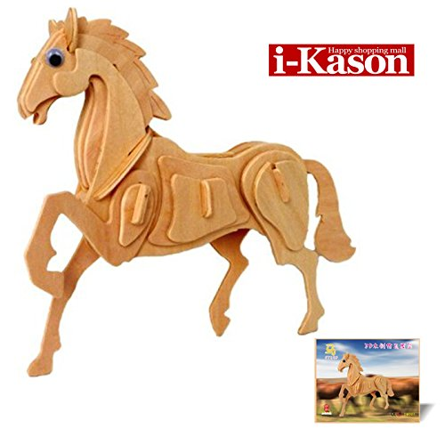 Authentic High Quality i-Kason® New Favorable Imaginative DIY 3D Simulation Model Wooden Puzzle Kit for Children and Adults Artistic Wooden Toys for Children - Horse