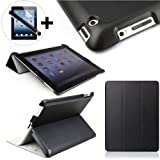 ForeFront Cases® New iPad 4 Luxury Leather Case / Cover Stand for New Apple iPad 4 / 4th Generation New iPad with Magnetic Auto Sleep Wake Function + STYLUS AND SCREEN PROTECTOR WORTH £9.95 (BLACK)