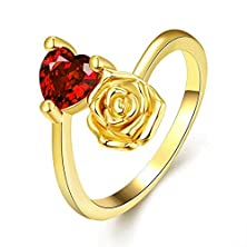 buy [Eternity Love] Women'S Pretty 18K Gold Plated Elegant Imitation Solitaire Ruby Heart Crystal Wedding Engagement Band Rings Best Promise Rings For Her Tivani Anniversary Collection Jewelry Rings