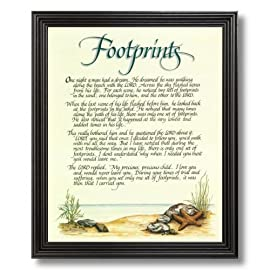 Footprints In The Sand Beach Jesus Christ Religious Picture Black Framed Art Print