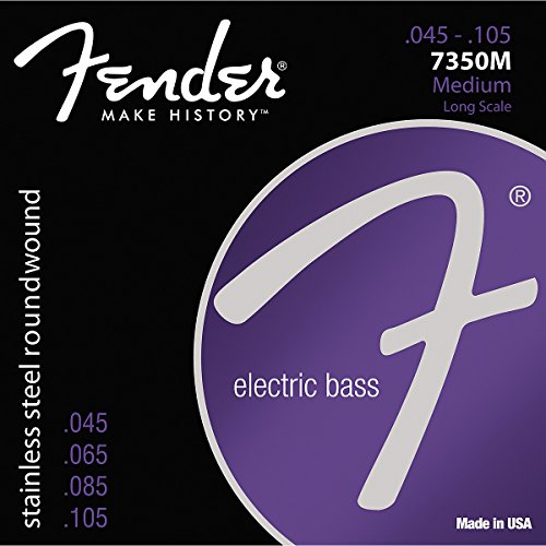 Fender 7350M Stainless Steel Roundwound Long Scale Electric Bass Guitar Strings - Medium