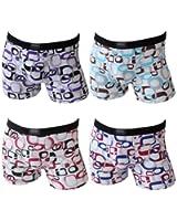 4er Pack Herren Retroshorts Boxershorts weiß mit Muster verschiedene Größen