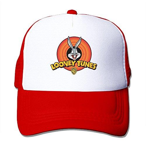 matthe-swag-printed-pattern-looney-tunes-2-unisex-half-mesh-adjustable-baseball-cap-hat-snapback-red