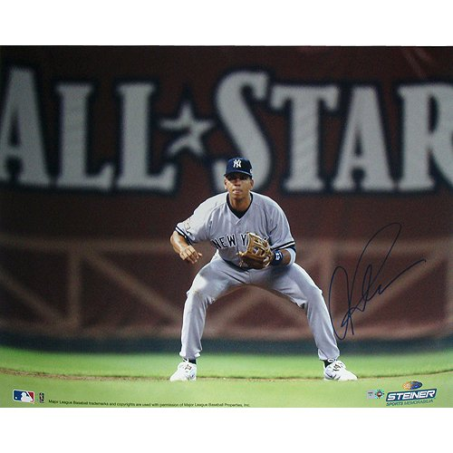 Alex Rodriguez Fielding W/ All Star In Background 16X20 Photo (Mlb Auth) front-869343
