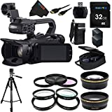 Canon XA25 Professional Camcorder - 8443B002 + Pixi-Essential Accessory Bundle - Features: 32GB High Class Memory Card + 72 inch Heavy Duty Tripod + (2) Replacement Battery & Charger + 9 Attachment Lenses + Deluxe Rugged Camcorder Case