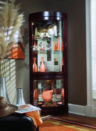 corner curio cabinet overview chocolate cherry corner curio cabinet