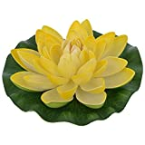 Veena Artificial Plastic Floating Yellow Lotus with Rubber Leaf - Set of 3 (17 cms Diameter, Yellow)