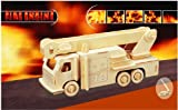 Puzzled Fire Engine 3d Natural Wood Puzzle