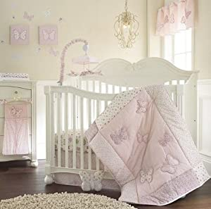 Laura Ashley Baby Bella 4 Piece Crib Set Comforter, Dust Ruffle Diaper Stacker Crib Sheet