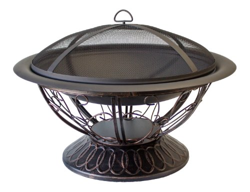 AZ Patio Heaters Fire Pit with Scroll Design, Wood Burning (Outdoor Firepits Wood Burning compare prices)
