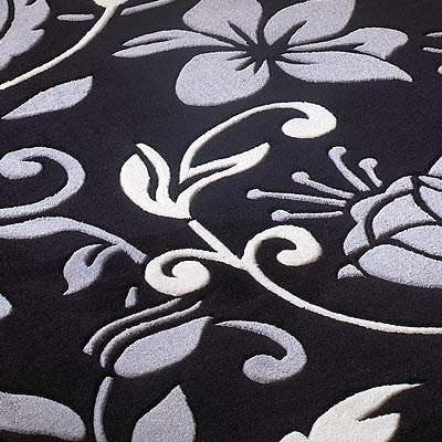 Infinite Damask Black / Grey Contemporary Round Rug Size: 135cm x 135cm (4 ft 5 in x 4 ft 5 in)