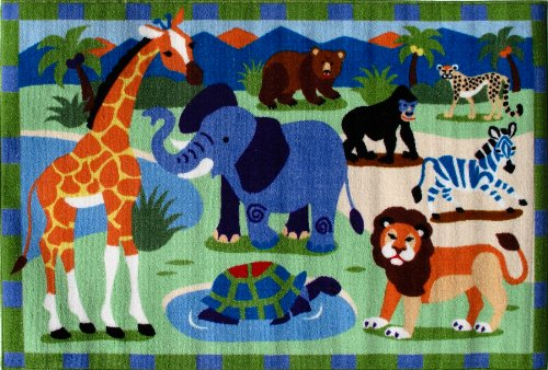 Roule Olive Kids Collection Wild Animals 19X29 Inch Kids Area Rugs