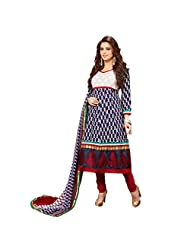 Women's Blue & Red Cotton Embroidered Semi Stitched Suit - B016AB2DXE