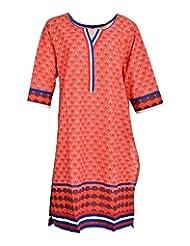 Global Women's Cotton Straight Kurta (GW18BlueXL015, Blue, XL)