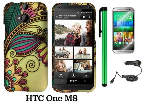 Htc One (M8) (For 2014 Htc New Flagship Android Phone; Us Carrier: Verizon, At&T, T-Mobile, Sprint) Premium Pretty Design Protector Hard Cover Case + Car Charger + Screen Protector Film + 1 Of New Assorted Color Metal Stylus Touch Screen Pen (Antique Tote