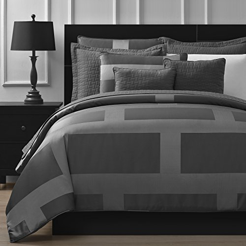Comfy-Bedding-Frame-Jacquard-Microfiber-5-Piece-Comforter-Set-Queen-Gray