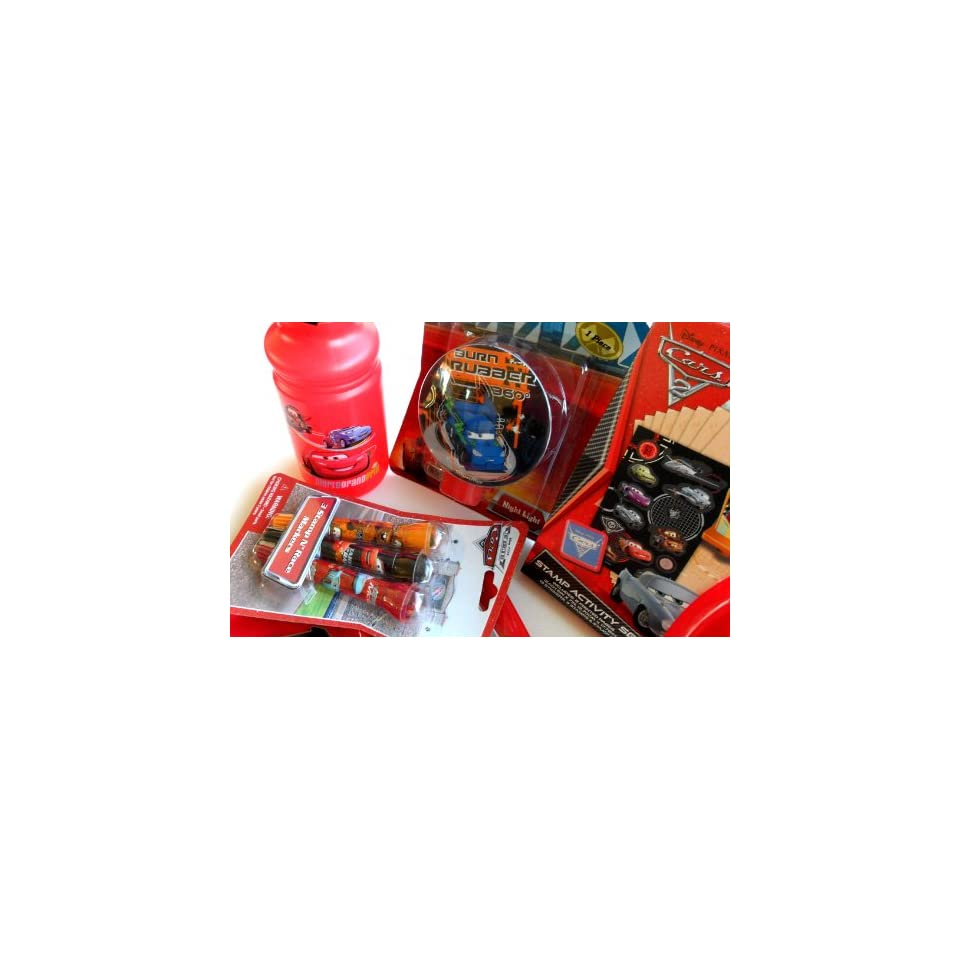Disney Pixar Cars Care Package Gift Pack Set of 8 Different Cars Items Including Cars Plates, Cars Fork & Spoon, Cars Water Bottle, Night Light, Stamps, Markers & More