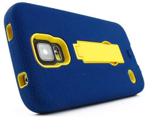 Mylife (Tm) Navy Blue And Yellow - Shock Suit Survivor Series (Built In Kickstand + Easy Grip Silicone) 3 Piece + 2 Layer Case For New Galaxy S5 (5G) Smartphone By Samsung (External Flex Silicone Bumper Gel + Internal 2 Piece Rubberized Snap Fitted Armor