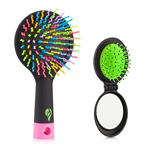 Detangling Hair Brush - Flend Rainbow Comb Pairs for Adults & Kids - Detangle Hair Easily With No Pain (Black) (Mini Hair Brush Bulk compare prices)