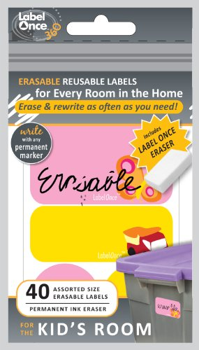 Jokari Label Once Kid's Room Erasable Labels Kit with 80 Labels and Eraser, 2-Pack