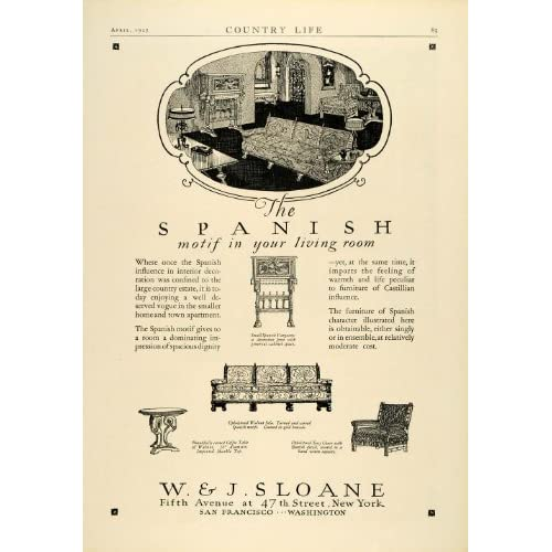 1927 Ad W.J. Sloane Spanish Living Room Decor Furniture Chairs Sofa Coffee Table   Original Print Ad