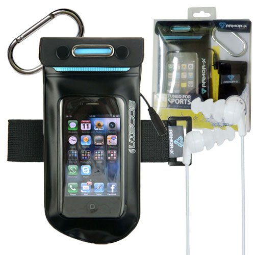 Wci Sealed Waterproof Armband Bag For Underwater Swimming And Sports - Protects Apple Iphone 4, Ipod Touch, Android And Smart Phones - Includes Custom Waterproof Quality Earphones