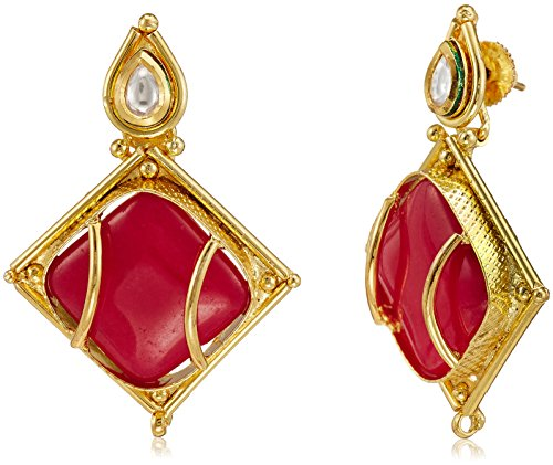 Sia Sia Art Jewellery Hoop Earrings For Women (Golden And Red) (AZ1896) (Multicolor)