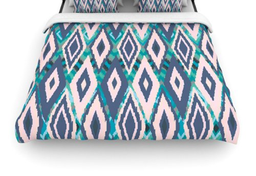 "Kess Inhouse Nika Martinez ""Tribal Ikat Blue Pattern"" 88 By 104-Inch Woven Duvet Cover, King front-952593"
