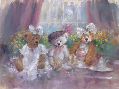 Teddy Bear Tea Party By: Stewart Sherwood 26 X 34 Art Print