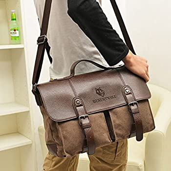 DesertWolf Canvas PU Leather Vintage Cross Body Messenger Bag/Briefcase Fit 13.3 inch Laptop 2