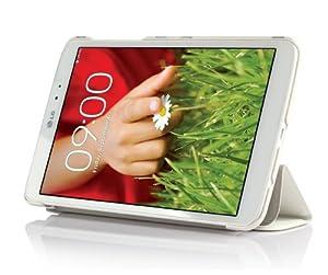 ELTD® Housse de haute qualité pour LG G Pad 8.3 Tablette Avec Stand de positionnement support et le sort de veille (Pour LG G Pad 8.3, Blanc III)