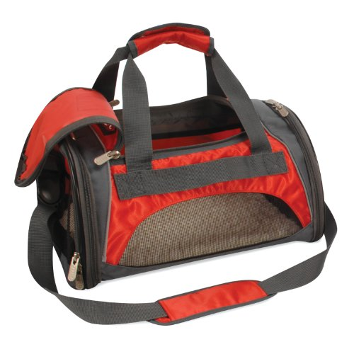 SHERPA SPORT DUFFLE Dog Cat Animal Pet Carrier Bag & Tote. Airline/Subway/Rail Approved. Size-Medium Color-Red w/ Reflective Sliver Trim