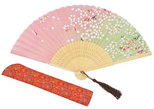 Amajiji Chinese Style Butterfly Flowers Pattern Lace Bamboo Handheld Folding Fans for Girls Women (2)