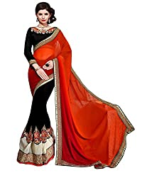 coolwomen women's georgette embroidered free size fancy saree-cw_NMPNA08_red_free size