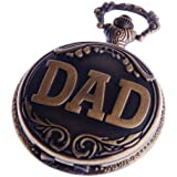 Dad Pocket Watch Quartz Movement With Chain White Dial Arabic Numerals Full Hunter Design PW-48