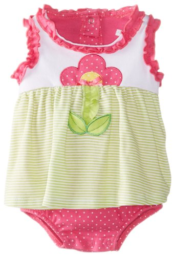 Vitamins Baby Baby-Girls Newborn Flower And Stripes Sunsuit, Green, 3 Months back-881328
